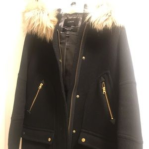 J crew Chateau wool parka coat black size 6